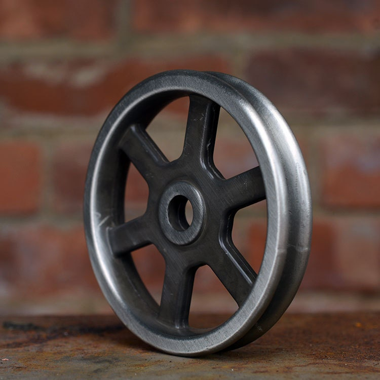 Pulley wheel antique nickel barn door hardware iron for Uses for old pulleys