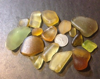 16 Yellow Jewelry Grade A Hand Picked 100% Genuine Ocean Tumbled Sea Glass from the Monterey Bay