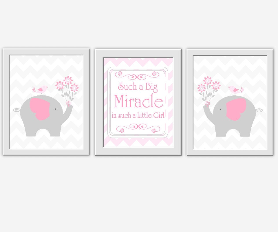 Pink elephant nursery wall art gray by dezignerheartdesigns for Pink wall art
