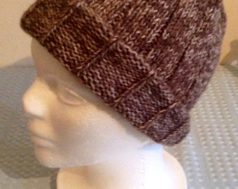 Ribbed Beanie Hat- Variegated Brown/Cream