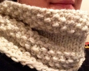 Cream Colored Cowl with Black and Brown Flecks