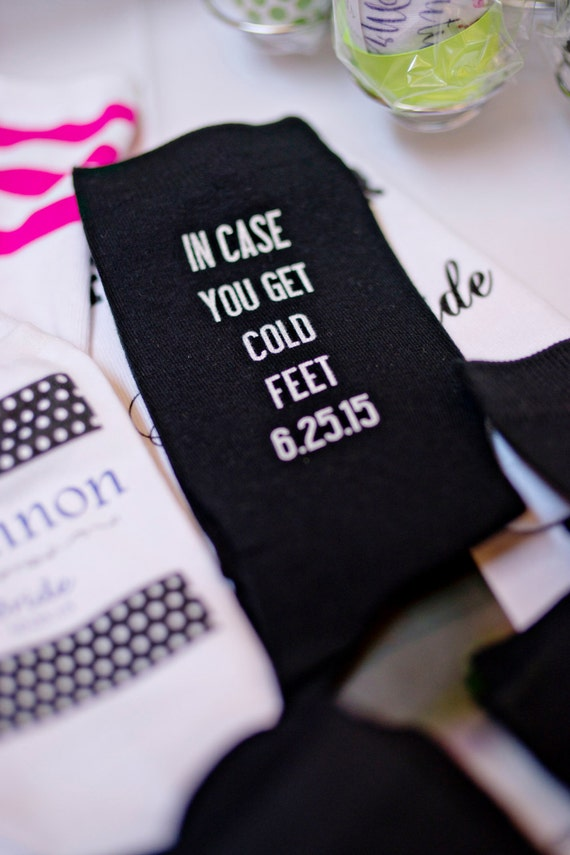 Feet, Grooms Socks Just in Case He Gets Cold Feet Wedding Gift Ideas ...