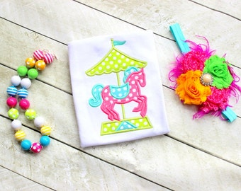 carousel horse birthday shirt ONLY toddler girl carousel horse shirt with name or number birthday pony shirt with number horse shirt