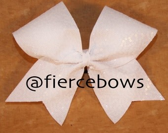 White Squiggle Sequin Cheer Bow