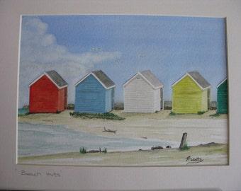 SALE - Beach Huts - Original Watercolour - South Coast of England