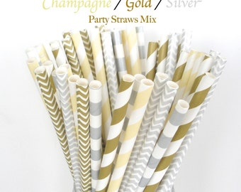Paper Straws Champagne / Gold / Silver Party Mix Chevron Paper Straws Stripe Straws  Fast Shipping Choose 25, 50 or 75 Straws