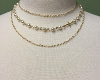Farrah - Swarovski pearls with sideways cross on multi strand necklace