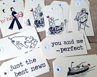 Tags in a Bag - 32 vintage style hand stamped shipping tags 11 x 5.5 cm in a drawstring bag
