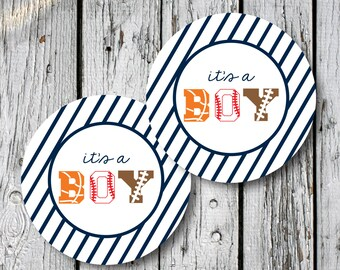 Sports Its a Boy Tags Stickers Cupcake Topper Circles DIY - Digital File Instant Download