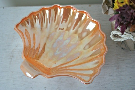 Clamshell Carnival Glass Dish Peach Lusterware Carnival Glass