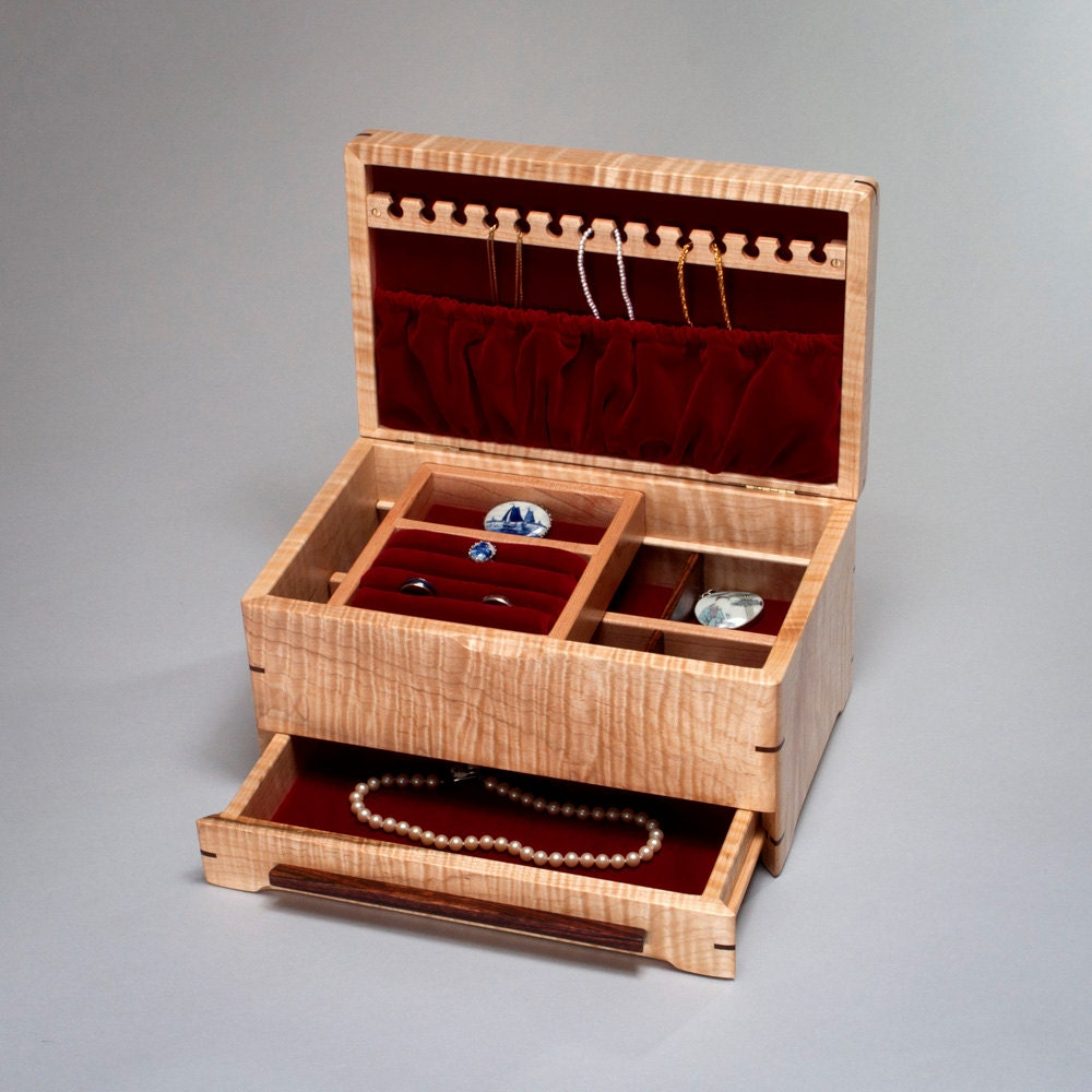large jewelry box organizer with necklace by mountainviewwood