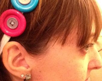 Bright button headband!