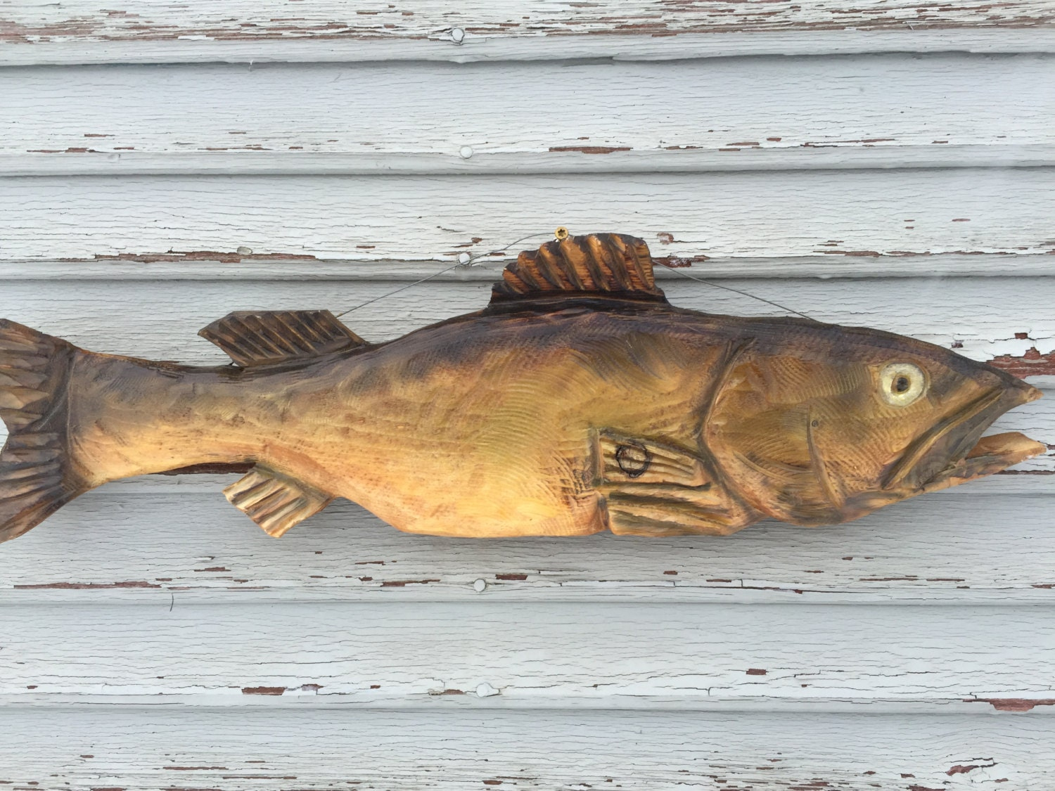 Chainsaw carved walleye by randyswood on etsy