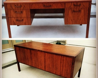 SALE - Vintage Mid Century Jack Cartwright for Founders Executive Desk in Exotic Walnut Grain WAS 1200