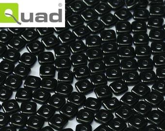 5 g Jet Czech Quad Beads 4 mm (9371)