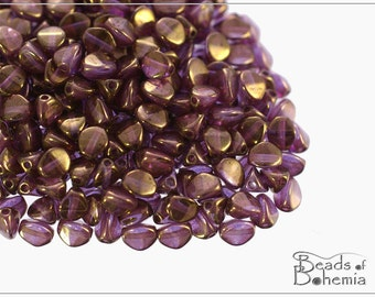 50 pcs Crystal Violet Gold Luster Czech Glass Pinch Beads Round 5x3,5 mm (8582)