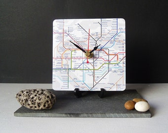 London Underground Map Desk Clock - Recycled  London Tube Map - Decoupage Clock UK