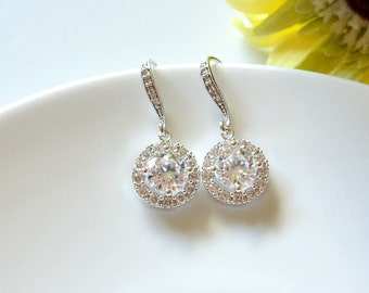 Luxe Cubic Zirconia Round Drop Earrings. Round CZ Bridal Earrings. Halo Style Crystal Earrings. Bridesmaid Earrings. Brides Wedding Jewelry