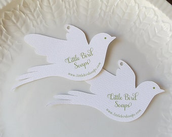 Wedding Favor Tags, Personalized Bird Gift Tags, Love Bird Doves, Baptism or Showers, Custom Product Label - Set of 20