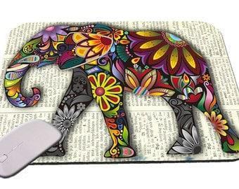 Vintage Elephant On Newspaper Mouse Pad
