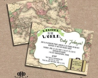 CUSTOM Baby Shower Invitation - Vintage Map