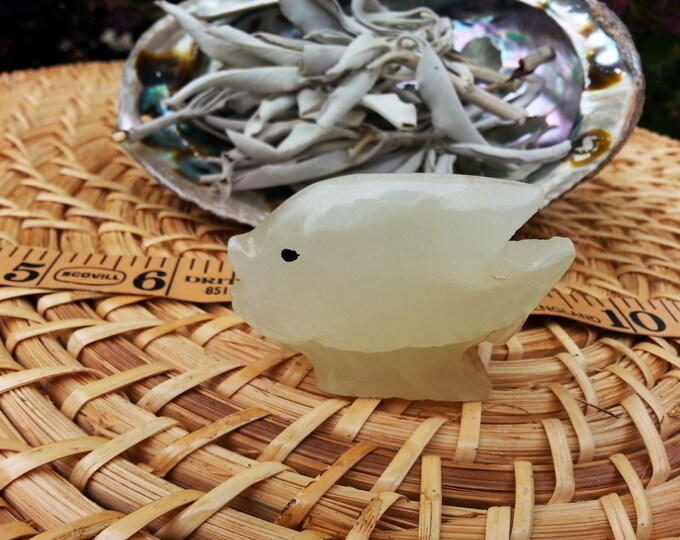 Pakistani Onyx Fish ~ One Small Reiki Infused gemstone fish approx 2 inches (005)