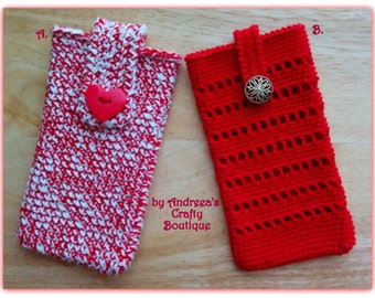 Crochet mobile phone cover, Lacy crochet smartphone case, two versions to pick from, Various other colours available per request