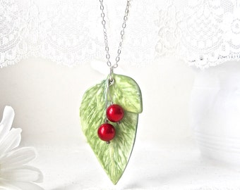 End of SUMMER SALE // Porcelain Leaf & Red Cherry Pendant // Cherries Pendant // Fruit Pendant // Artisan Jewelry // Yellow Green