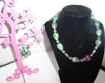 Ruby Zoisite Necklace and Earrings