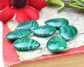 Malachite Imitation Smooth Pear Briolette Teardrop Pendant Focal Beads, Green Teardrop Beads, 18x13mm, Pkg of 7, Destash