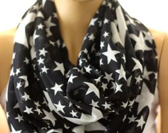 Stars chiffon scarf. Fashion infinity scarf Infinity scarf. Loop scarf. Circle scarf. Women Scarf. Gift. Star
