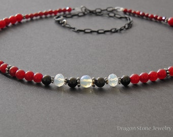 Red Quartzite Beaded Necklace with Onyx and Opalite Accents/ Unisex