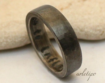 Men's Silver Ring - Wedding Band for Men - Hammered Black Band - Sterling Silver - Personalized Ring - Ring For Men