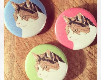Ginger cat badges, set of three, pin badges, cat lover gift