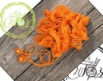 Orange Cotton Crochet Summer Scarf - One of a kind - SALE