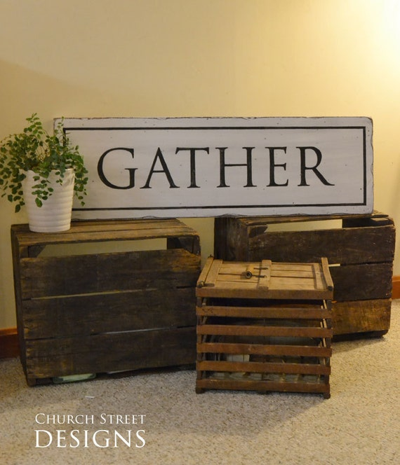 Large Wooden Signs Home Decor: Vintage Kitchen Decor Gather Sign Large Hand Painted
