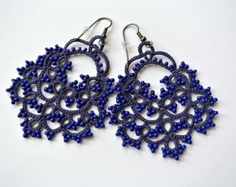Navy blue tatted chandelier earrings made in Italy | lightweight beaded earrings | wedding jewelry | bridesmaid gift | made to order