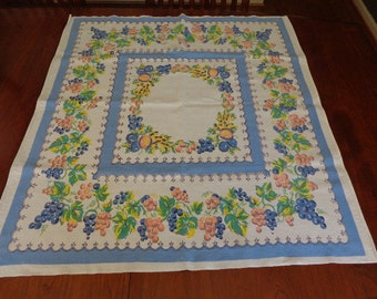 Vintage Printed Summertime Tablecloth Grapes Fruits Porch Cloth