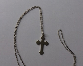 vintage sterling silver cross and chain