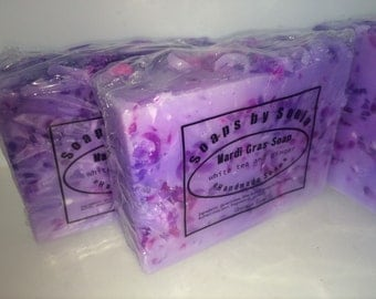 Mardi Gras Handmade Soap bar, White Tea And Ginger scent, 3 butter soap, ON SALE