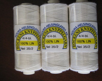 Bleached Linen by Bockens great for Bobbin Lacemaking and stitching - Pick your size