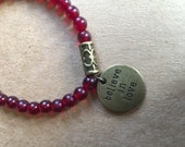 Believe in Love Stretch Bracelet, Boho, Red, Silver, Bracelet