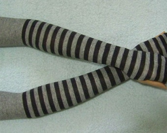 Cotton, Knit Jersey Stripes, Very Long Arm Warmers, Soft  Fingerless Gloves, Boho, Punk, Dance with Thumb Holes. IDEAL for HER