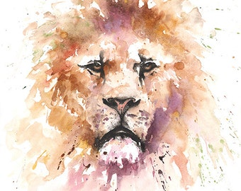 LION PRINT - watercolor lion painting, lion decor, lion watercolor, wildlife painting, lion wall art, lion lover gift, animal print