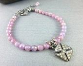 Pink Sapphire Chakra Bracelet Sterling Silver Pave Diamond Charm Bracelet Birthstone Bracelet Healing Chakra Energy Jewelry