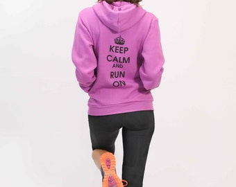 L - Keep Calm and Run On Hoody - Dk. Orchid - Women's - by Runner's Booty (Large)