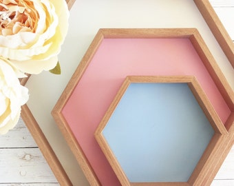 Hexagonal wooden TRAYS and pastel-Provence Country Shabby Chic Design