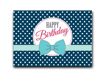Retro red postcard: Happy Birthday Blue- DC