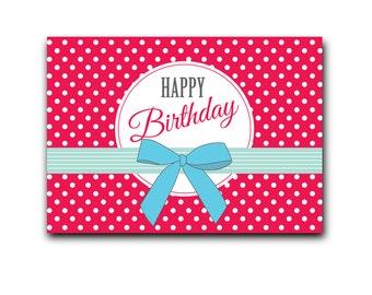 Retro red postcard: Happy Birthday - DC