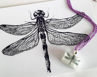 Dragonfly Pen Print 5x7 Illustration & Matching Resin Pendant on Purple Chain